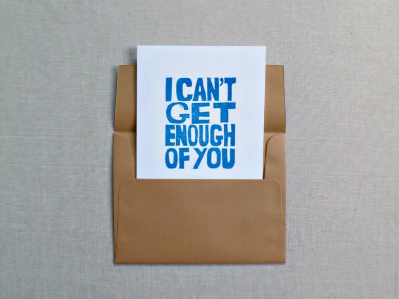 i can't get enough of you card inside kraft colored envelope