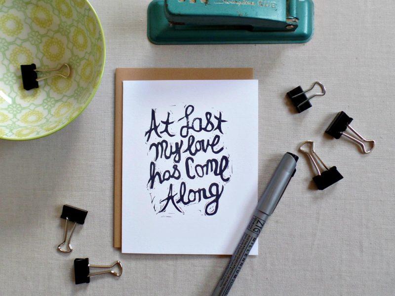 Etta James song lyrics At last my loves has come along card