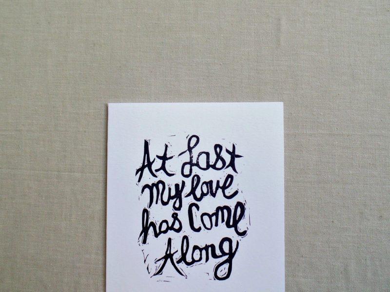close up of hand printed card with Etta James lyrics