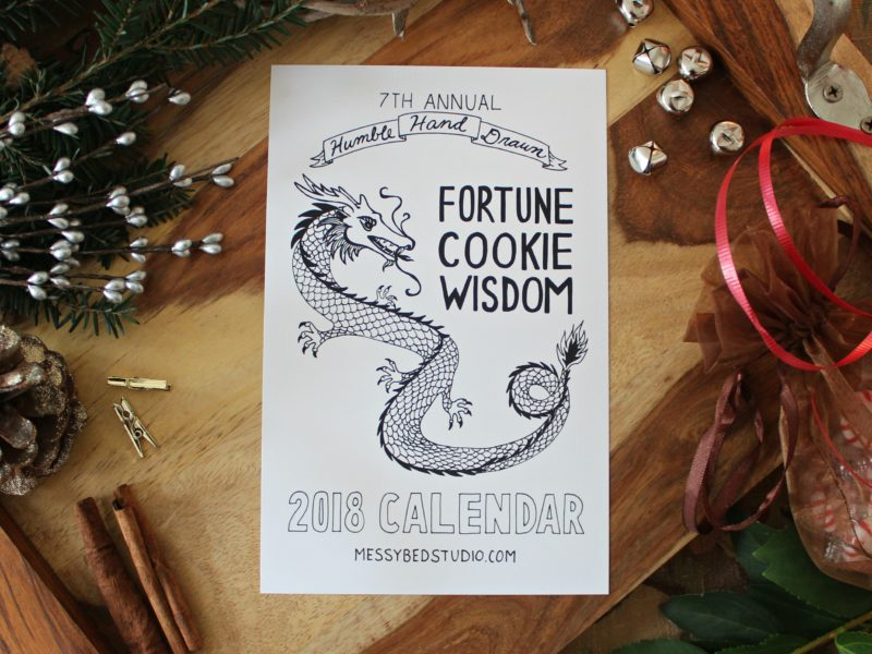 2018 fortune cookie wisdom calendar with christmas decorations