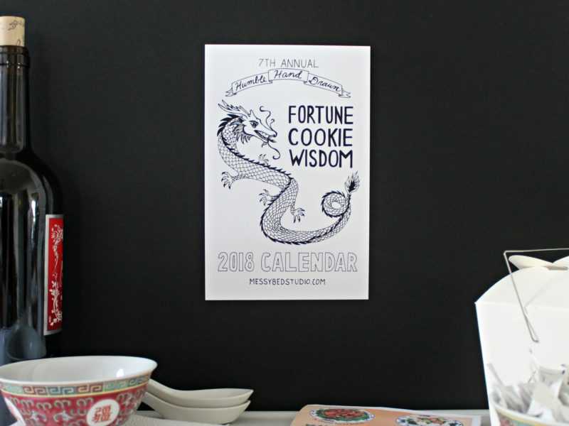 fortune cookie wisdom calendar with chinese food