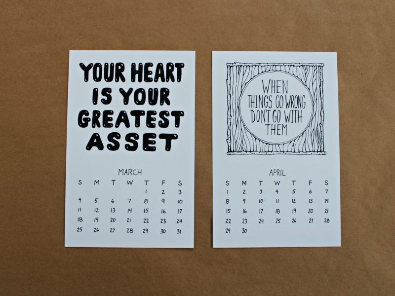 march and april from the illustrated fortune cookie wisdom calendar