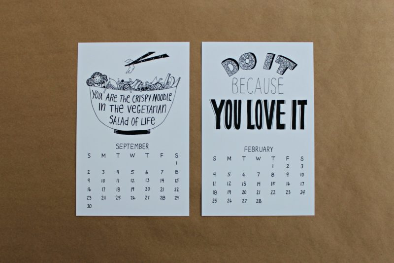 September and February illustrated months from the fortune cookie wisdom calendar
