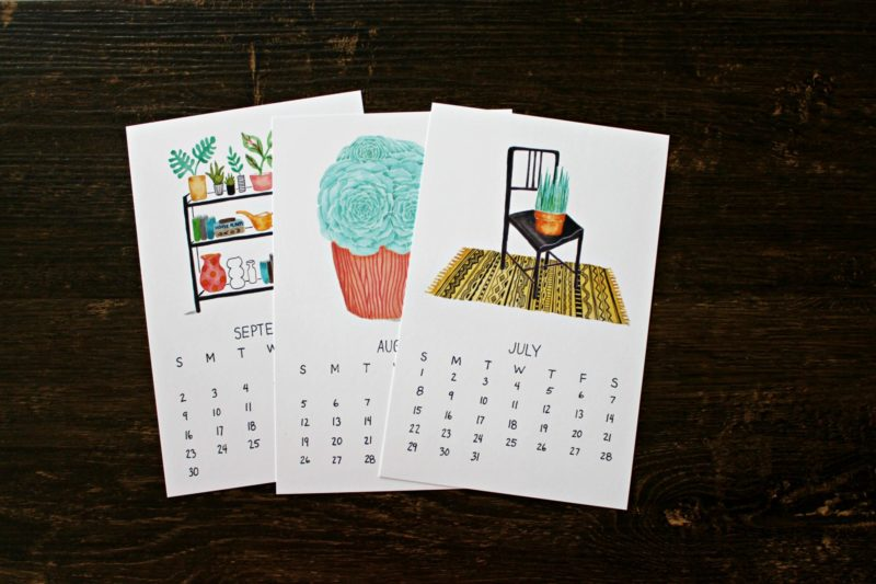 monthly pages from the 2018 plants are friends calendar