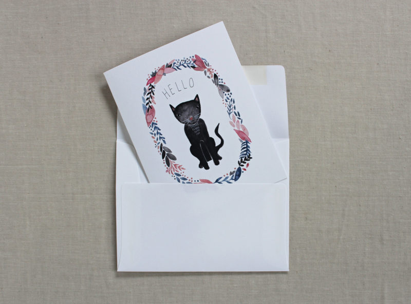 black kitty note card with envelope