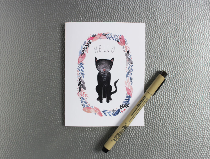 hello note card in navy and blush