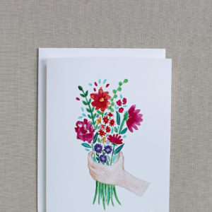 blank thank you card with painted bouquet of flowers