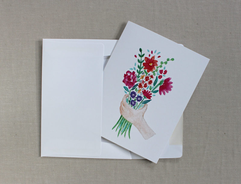blank thank you card with flowers in envelope
