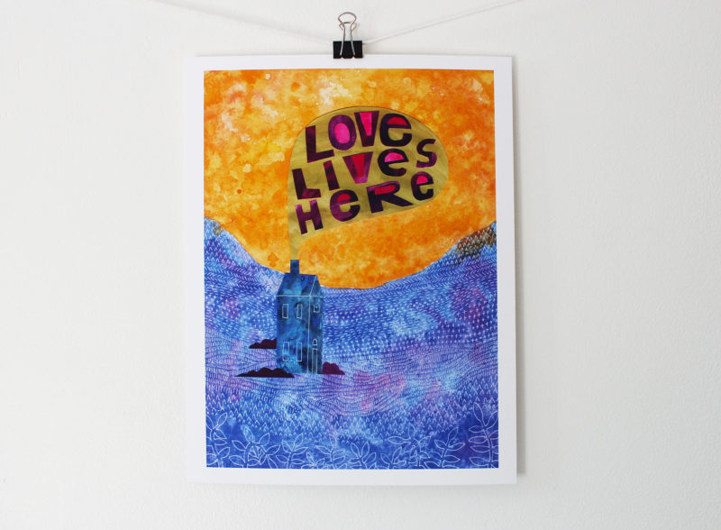 love lives here print from mixed media collage