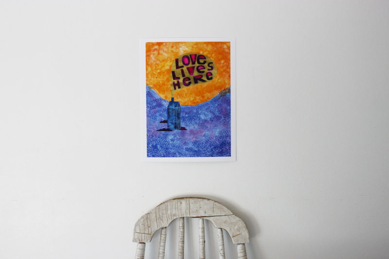 love lives here print in bright colors
