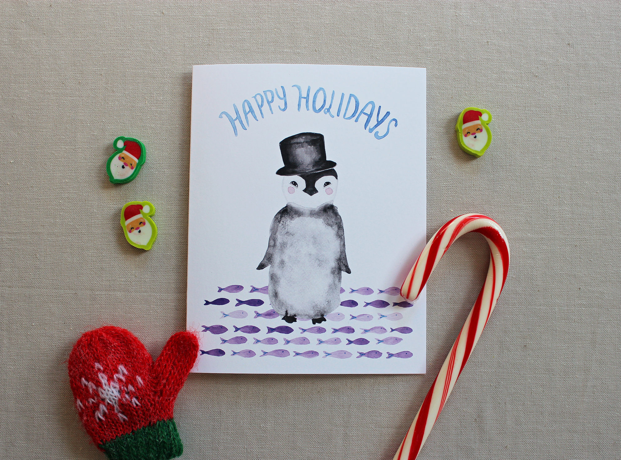 Penguin Christmas Cards and Happy Holidays Cards - Messy Bed Studio