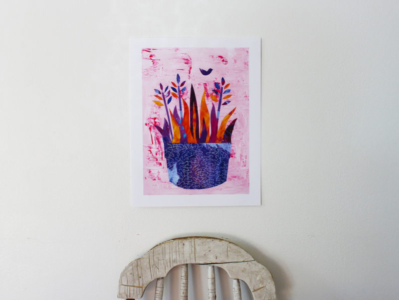pink and purple collage print of flowers