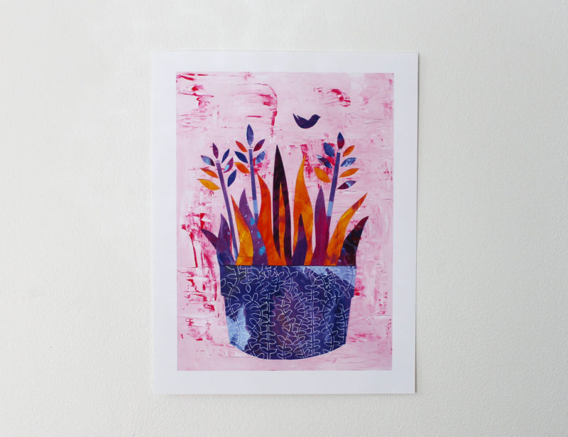 pink and purple mixed media collage print