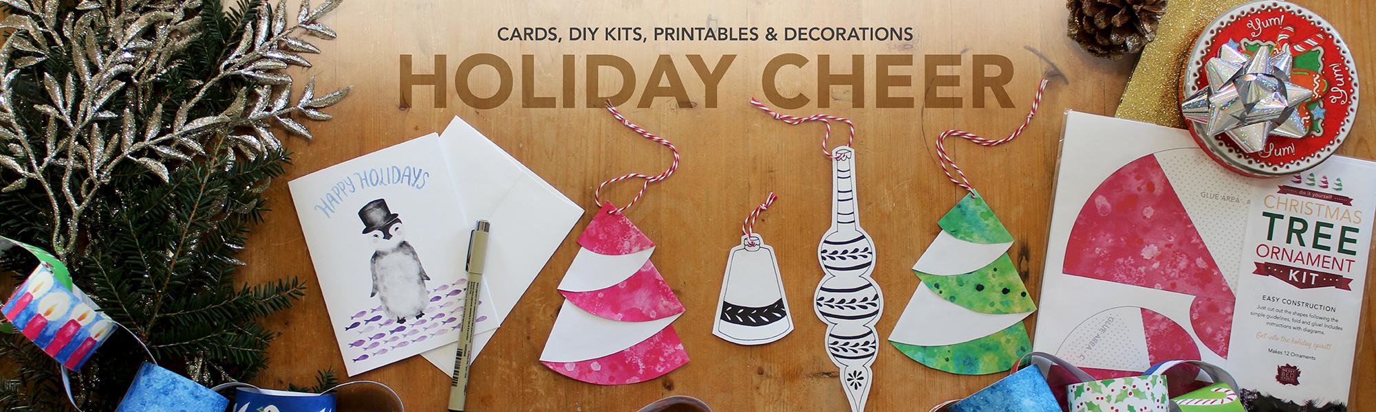 holiday cheer, cards, diy kits, printables, decorations at messy bed studio