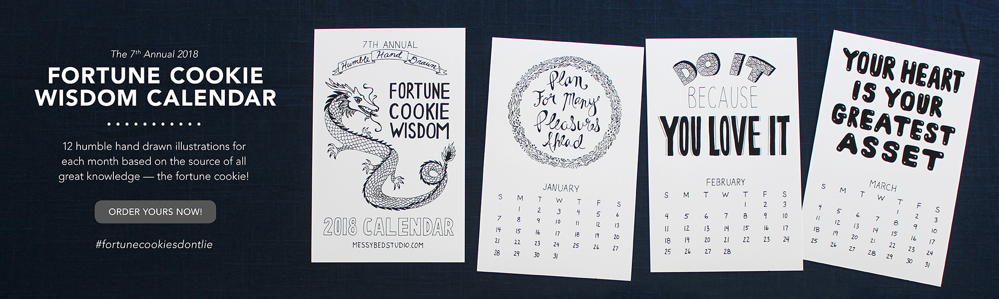 2018 humble hand drawn fortune cookie wisdom calendar