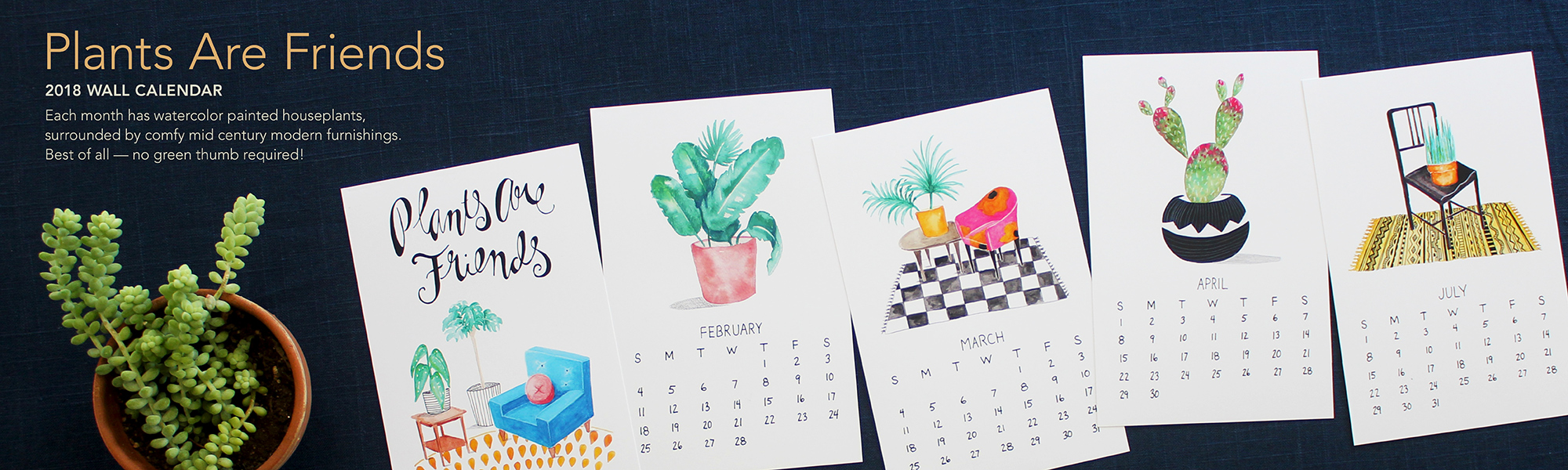2018 plants are friends watercolor calendar