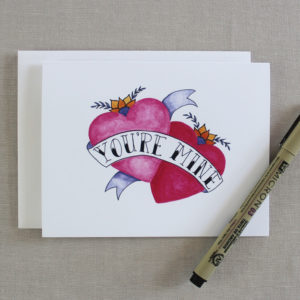you're mine card with watercolor painted hearts