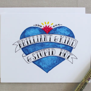 Brilliant and kind card with blue heart