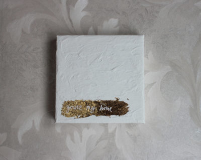 white and gold leaf mixed media painting