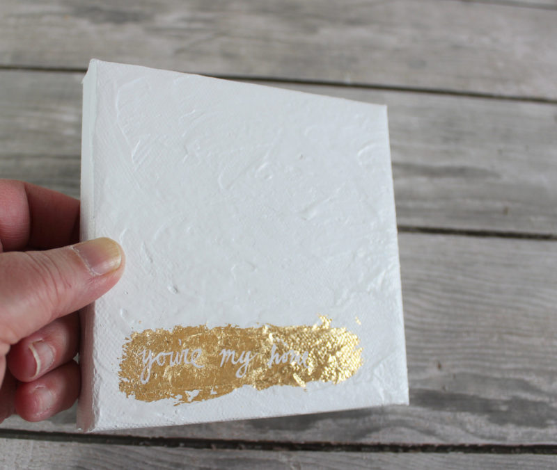 small square mixed media painting with gold leaf