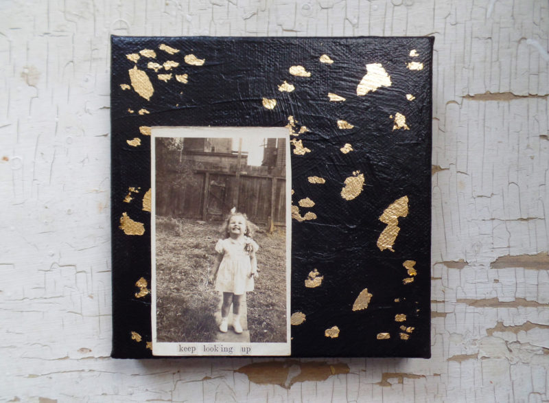 mixed media painting with gold leaf and vintage photo