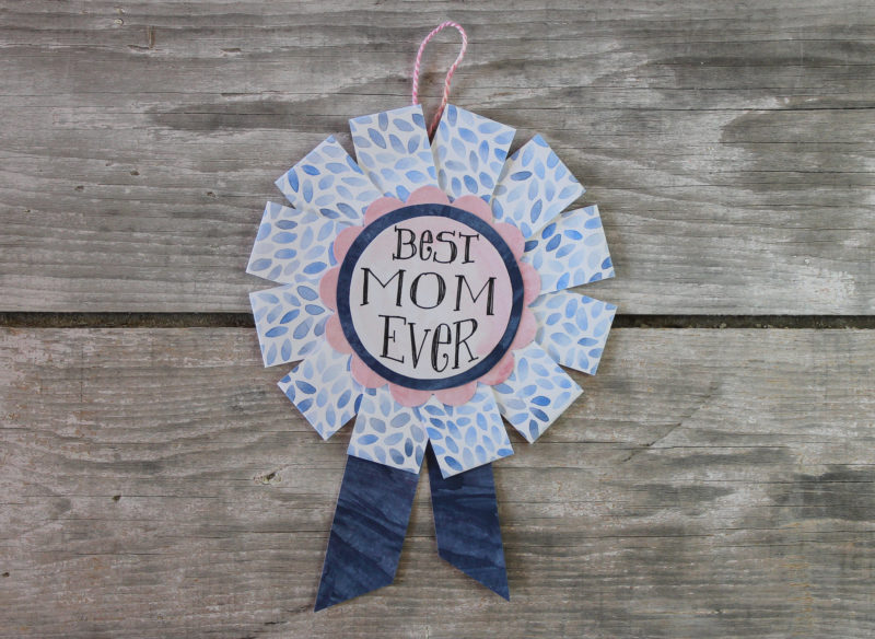 best mom ever blue ribbon award in blush and navy