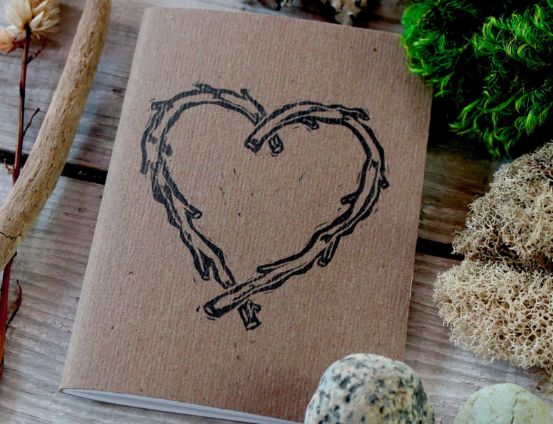 detail of rustic heart vow book