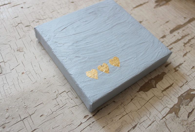 3 gold leaf hearts on blue gray textured love notes for him painting