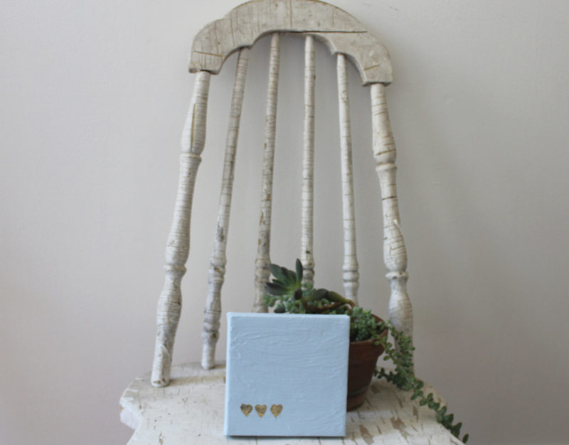 love notes for him painting on chair with succulent plant