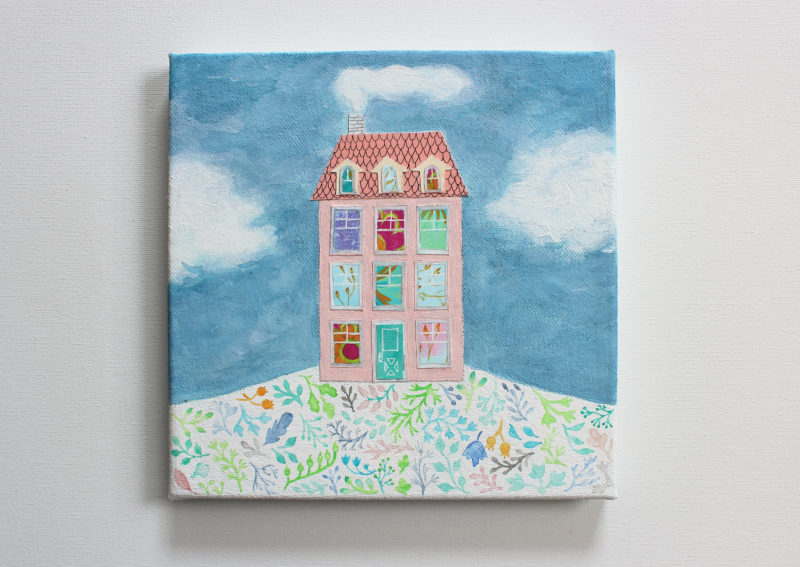 mixed media original art painting and collage of house on hill with sky and clouds