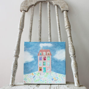 mixed media house artwork on vintage chair