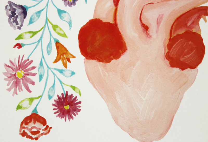 close up of anatomical heart with flowers art print