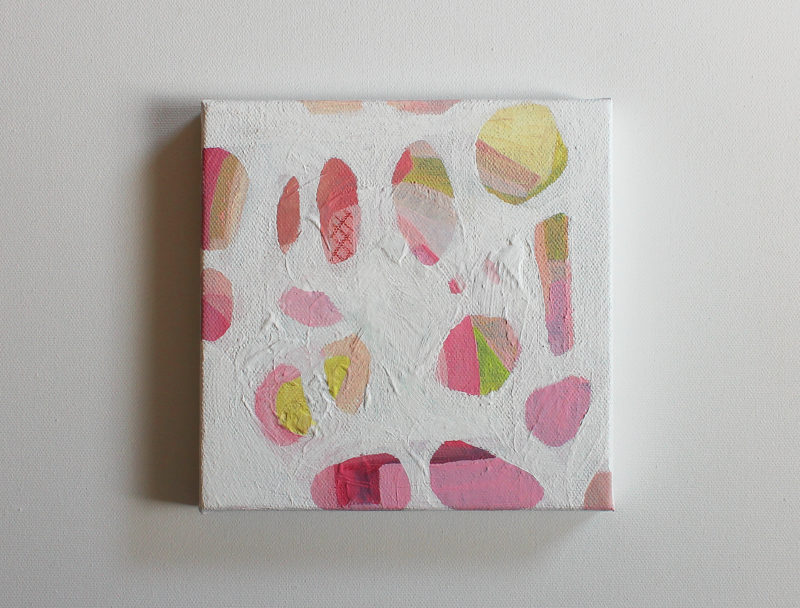small abstract art painting in pinks and white