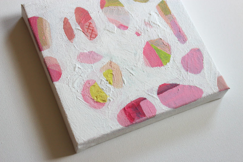 detail of small abstract art painting showing texture