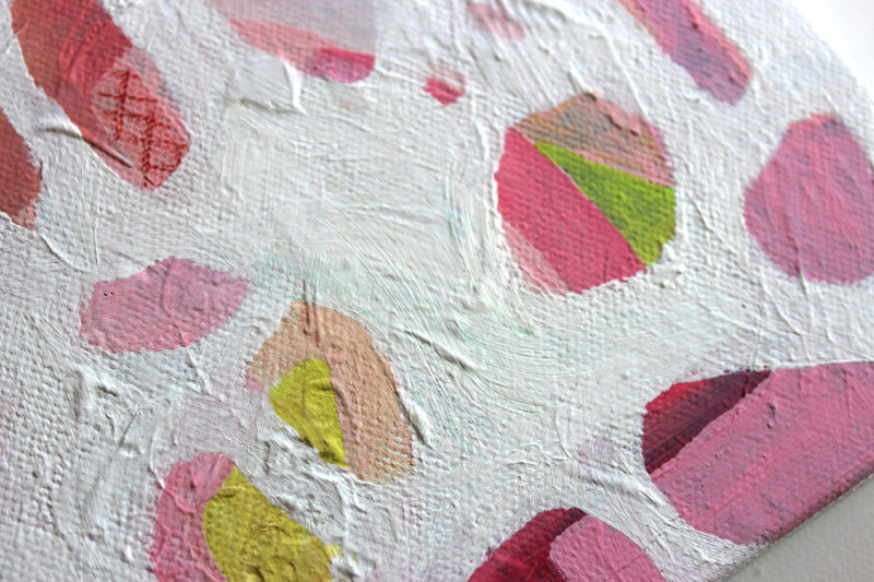 close up details and texture of small abstract art painting