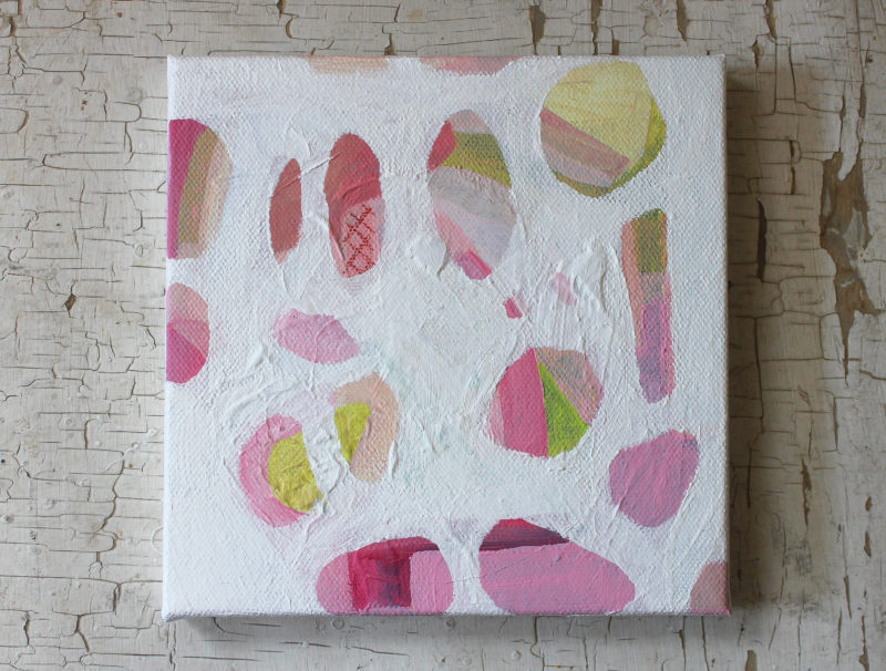 small abstract art painting in pink, white and green
