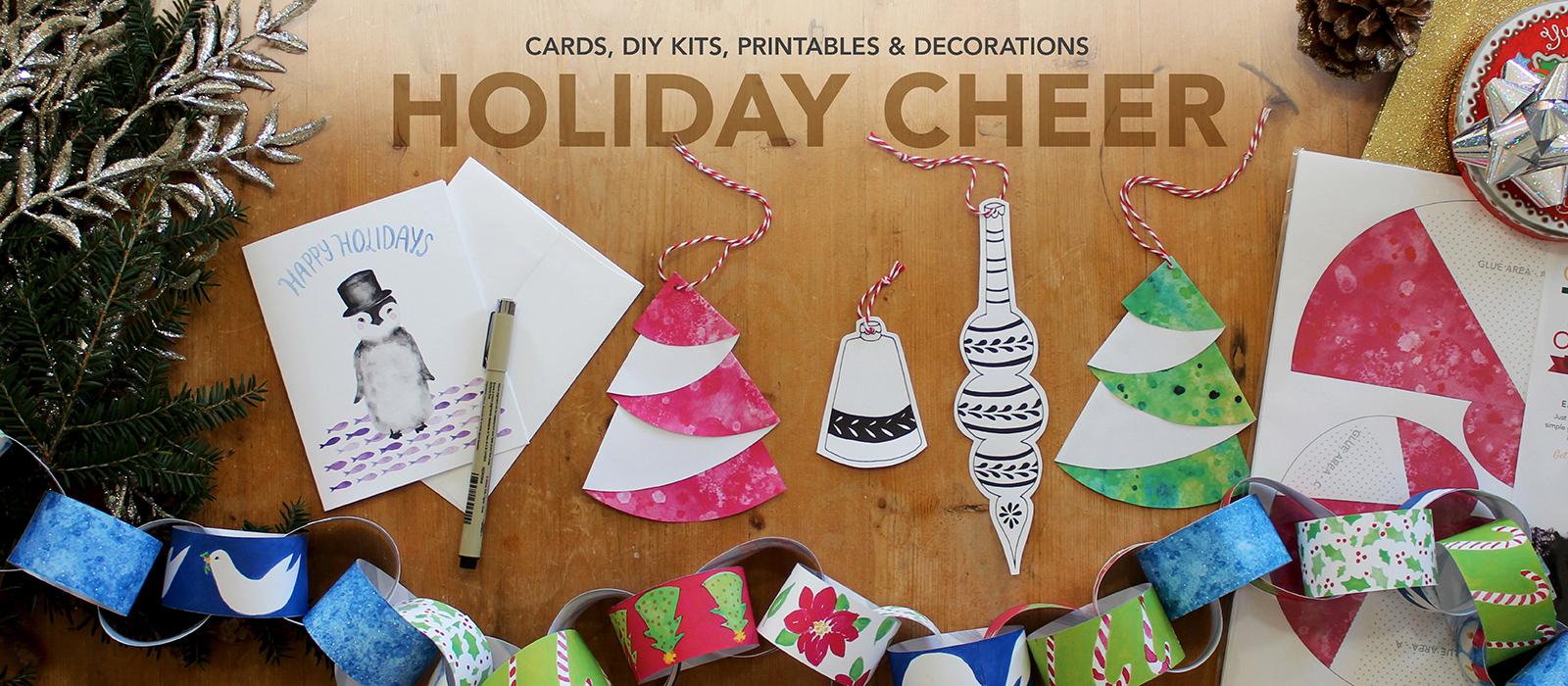Messy Bed Studio Holiday Cheer Cards, DIY Kits, Printables and Decorations