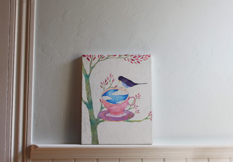 painting of a teacup in branches with a bird