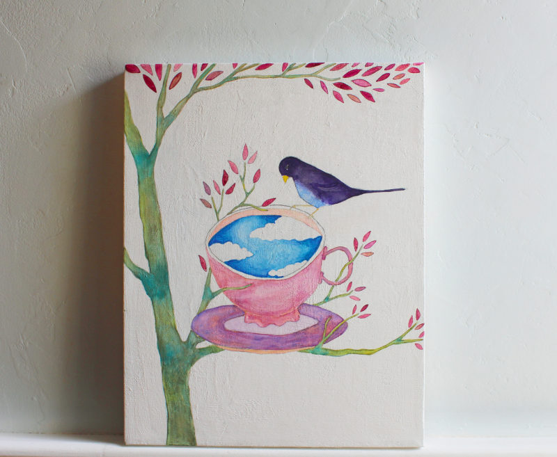 teacup and bird original painting