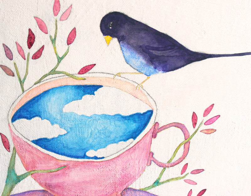 close up of original painting with teacup and bird perched on its rim