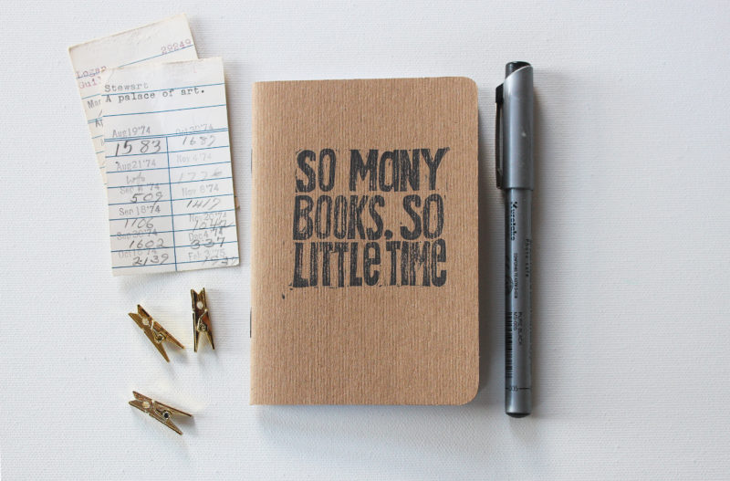 hand printed notebooks with so many books so little time on it