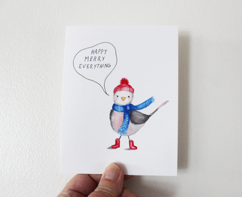 cute bird christmas card with the words happy merry everything