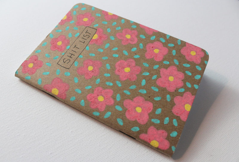 close up details of flower notebook