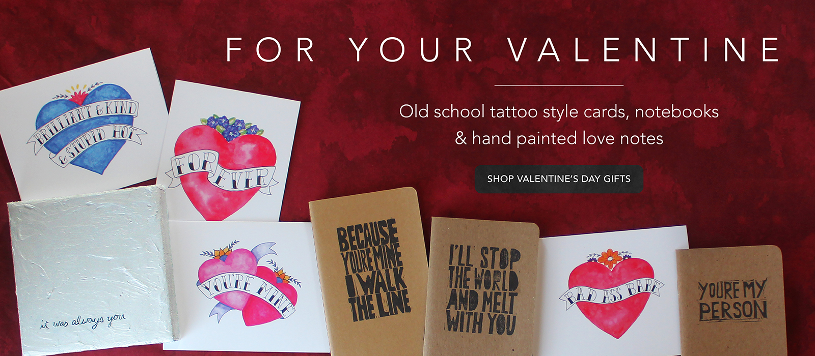 Romantic cards, notebooks and love note paintings for Your Valentine by messy bed studio