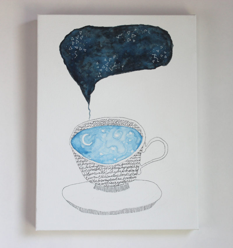 Teacup full of sky surreal art painting