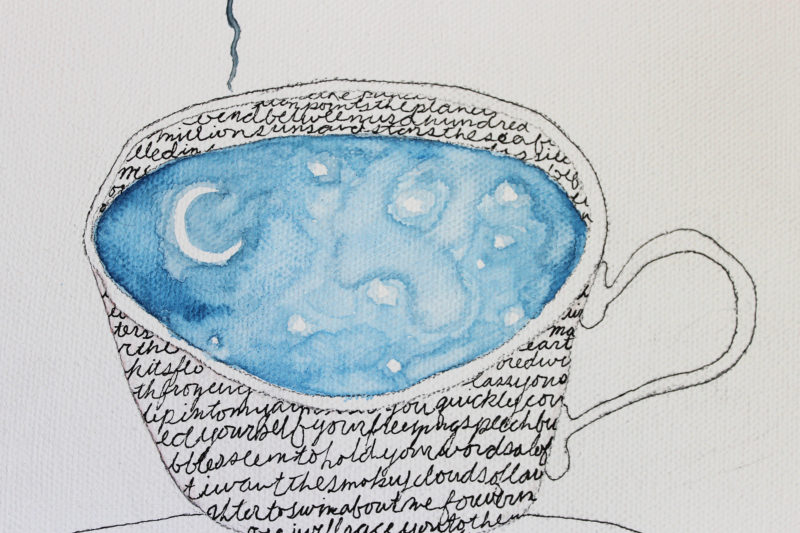 close up of watercolor moon and stars in teacup with words written in black ink