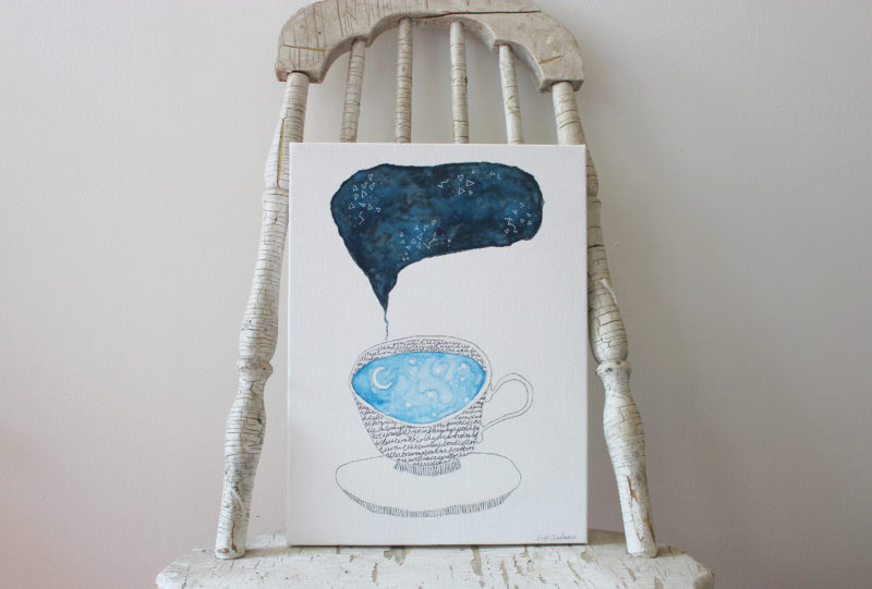watercolor painting on canvas of teacup full of sky sitting on a chair