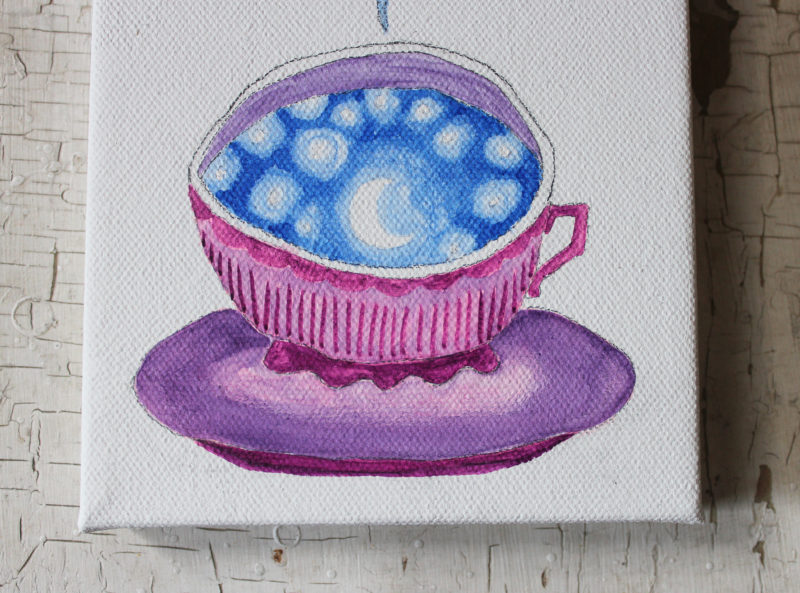 close up details of original art painting of a teacup with moon and stars