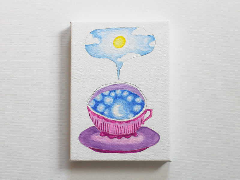 teacup full of sky series with crescent moon and sun and clouds