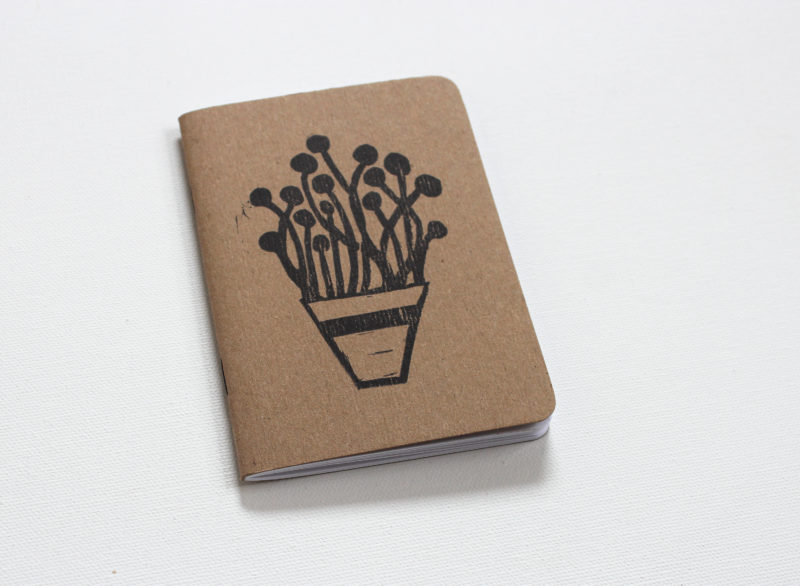 plants in pots hand printed notbook